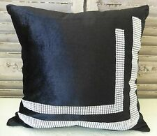 Black cushion cover with sparkling rhinestones