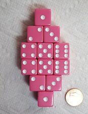 DICE SALE - 16mm OPAQUE PINK WITH WHITE PIPS! ONE DOZEN!
