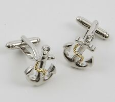 NEW Ships Anchor with Golden Rope Sailing Cuff Links Cufflinks 19978 New in Box