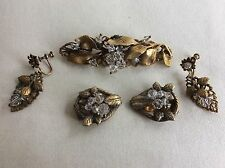 Not Signed Early Miriam Haskell Lot Earrings, Shoe Scarf Clips, Brooch As Is