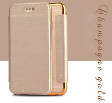 Luxury Flip Leather Wallet Clear Soft TPU Stand Phone Case Chrome Bumper Cover