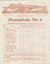 BREMEN, Preisliste Nr. 5 v. 14.05.1932, Tabak-Fabriken C. F. Vogelsang