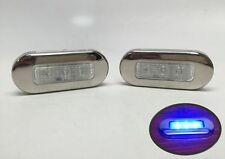 "2 PCS RV MARINE BOAT TRAILER LED BLUE OBLONG COURTESY LIGHT 3""BY1.25"" SS RIM"