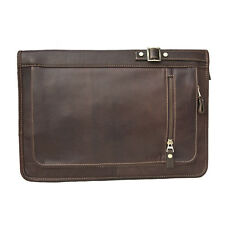 Prime Hide Leather Zip Round Folio A4 Document Holder / Folder - Brown 942