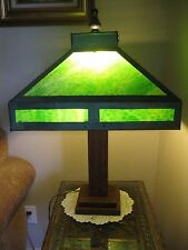 Antique Mission Style Arts and Crafts Green Slag Glass Wood Base Table Lamp NICE