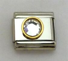 9mm Classic Size Italian Charms Round Gold trim Birthstone April Diamond