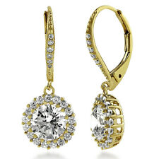 BERRICLE Gold Flashed Sterling Silver CZ Halo Leverback Dangle Drop Earrings