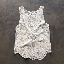 New Anthropologie Cream Eyelet Crochet Lace Detail Boho Cami Blouse Tank Top - M