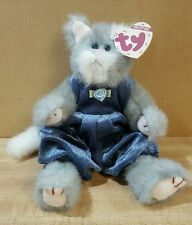 WHISKERS TY ATTIC TREASURES GREY JOINTED CAT Brown Tag Retired Rare