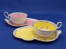 2 RARE VTG 1920'S PARAGON TEA CUP & BISCUIT SAUCER SETS YELLOW & PINK #8127 NR