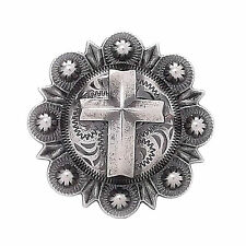 "Cross Berry Concho Antique Silver All Metal 1"" 1736-21"