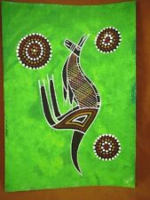 AUS-7 Kangaroo green Australian Native Aboriginal PAINTING dot Artwork T Morgan