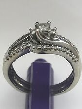 Lovely IKS 10k Solid White Gold Princess & Round Cut Natural Diamonds Ring