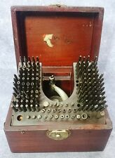 Antique Vintage Watchmakers Staking Tool Press Punch Set in Wood Box