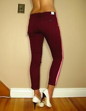 Hudson $187 Loulou Dark Red Hot Pink Tuxedo Stripe Skinny Low Rise Crop Jeans 26