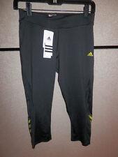 New Womens Adidas CS 3/4 Tight Run Running Black Lab Lime $50 XS X Small