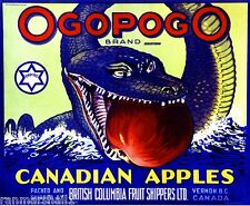Vernon, B.C. Canada Ogopogo Canadian Sea Serpent Apple Fruit Crate Label Print