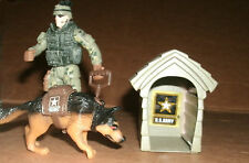 "1/18 Scale U.S. Army Soldier With Dog + House - 3.75"" Action Figure Accessorry"