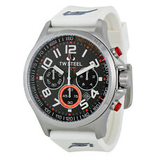 TW Steel Sahara Force India Chrono Black Dial White Rubber Men's Watch TW429