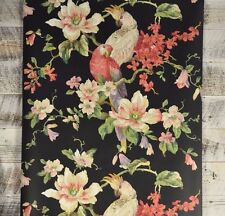 Vintage Victorian Floral and Bird Black Wallpaper White Pink Blue Flowers Parrot