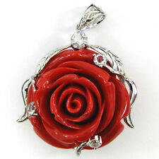 40mm synthetic coral carved rose flower pendant with silver plated bail red