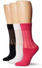 3-SET K. Bell Women's Fashion Socks Slim Ruffle Lace Mesh Crew Pink Black White
