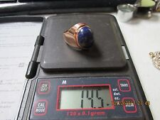 14K Gold Men's Ring with large blue/green Stone   14.5 Grams   GREAT PIECE!!