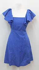 RUBY ROCKS Blue Ladies Spotted Square Neck Ruffle Sleeved Dress Size S
