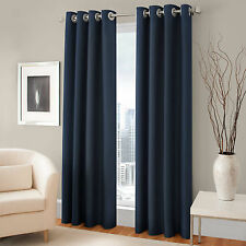 "2 PANELS NAVY BLUE LINED THERMAL BLACKOUT GROMMET WINDOW CURTAIN 55""X 95"" PC K60"