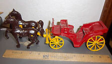 Cast iron wagon and 2 horses, very nice! 12 inches long combined, 4 inches tall