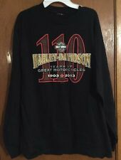 "HARLEY DAVIDSON 110th Anniversary MENS LARGE 42"" Chest-L/S T-SHIRT-NWOT~LQQK!!!"