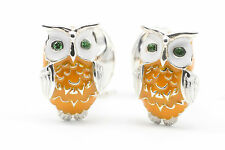 Deakin and Francis Silver & Enamel Owl Cufflinks Emerald Eyes