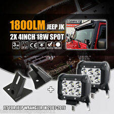 "4Inch 18W Led Lights Bar Spot Cree 3""+Mounting Brackets Fit For Jeep Wrangler JK"
