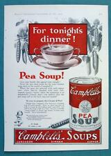 Original 1925 Campbell's Soup Ad FOR TONIGHT'S SPECAIL TREAT DINNER PEA SOUP!