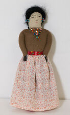 Vintage Native American Hand Made Cloth Fabric Doll with Bead Jewelry~9 1/2""