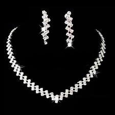 Schmuckset Collier Kette Halskette Ohrringe Strass Silber Braut Schmuck Neu