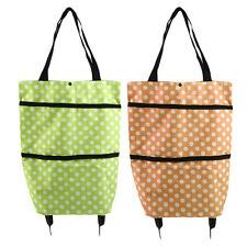 Portable Folding Wheel Handle Carry Shopping Bag Rolling Grocery Cart Tote OE