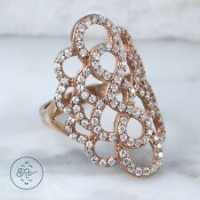 Sterling Silver - Rose Gold Plate Cut-Out Floral Outline 4.6g - Ring (6.5)