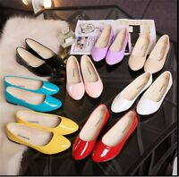 Women's Flat Ballet Casual Shoes Patent Leather Candy Colors Slip On Pumps Shoes