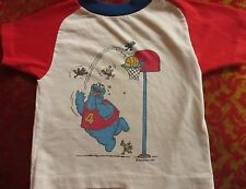 XS 3-4 True Vtg 70s Boys TRASHED COOKIE MONSTER BASKETBALL RELIC T-SHIRT USA