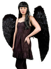 Ladies Extra Large White Black Feather Angel Wings Fancy Dress Costume Outfit