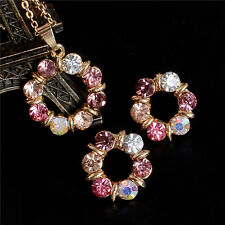 Hot 18k Gold Filled cubic zirconia jewelry sets necklace/earrings