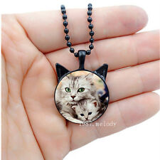 Photo Cabochon Glass Black Cat with ears Necklace Pendants(cat mom hugged