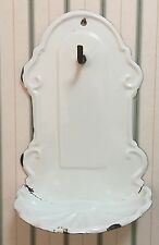 Lovely Vintage French Enameled Wall-Mount Soap Dish and Towel Rack ~ White