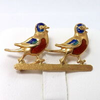 VINTAGE 18K ROSE GOLD ENAMEL LOVE BIRDS BROOCH PIN ITALY 3.4Gr