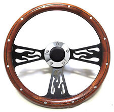 Hot Rod Mahogany & Custom Billet Steering Wheel Boss Kit for 1969-94 GM Column