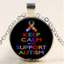 Charm Cabochon Glass Silver Pendant Necklace,keep calm support Autism