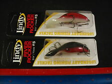 Lot of 2 NEW Lindy River Rocker #5 Red Glow Luminous Bottom LRR511 Fishing Lure