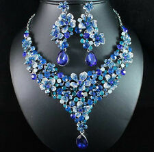 PLUMERIA BLUE AUSTRIAN RHINESTONE CRYSTAL STATEMENT NECKLACE EARRINGS SET N1717