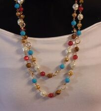 Signed Joan Rivers Gold Tone Multi Color Bezel Set Rhinestone Beaded Necklace